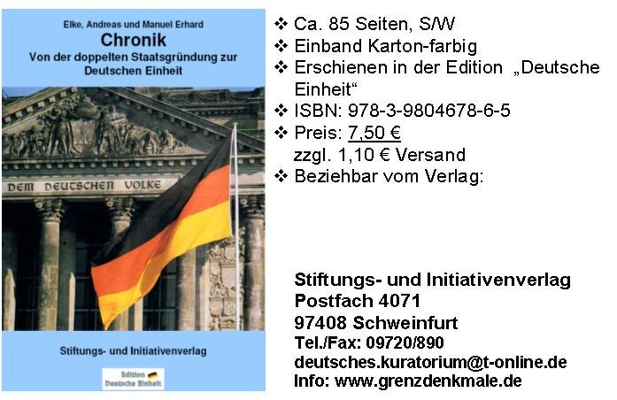 chronik von der doppelten staatsgr ndung zur deutschen einheit buchhandlung 89 in der. Black Bedroom Furniture Sets. Home Design Ideas